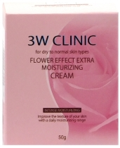 Крем для лица увлажняющий 3W Clinic Flower Effect Extra Moisturizing Cream, 50 гр.